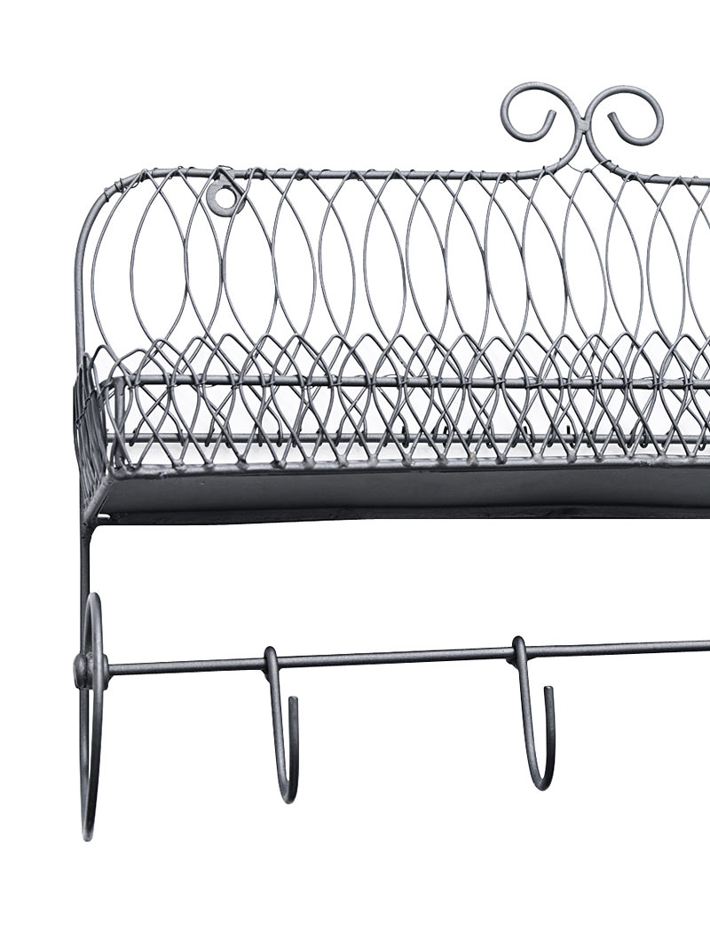 madam stoltz gew rzregal mit haken regal aus metall vintage 33x24x9 neu ebay. Black Bedroom Furniture Sets. Home Design Ideas