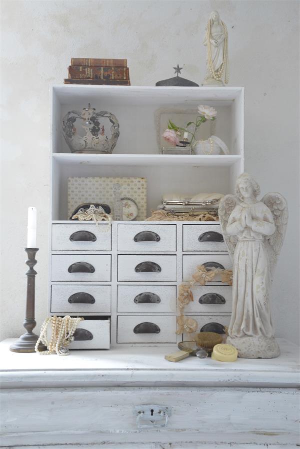 regal m 12 schubladen v jeanne d arc living wei patina shabby chic 80x60 cm ebay. Black Bedroom Furniture Sets. Home Design Ideas