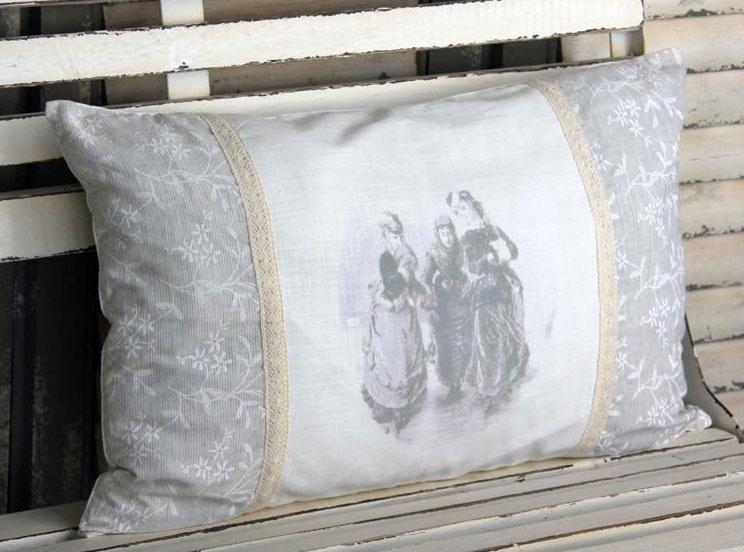 chic antique kissen dekokissen inlet shabby chic vintage 40x60 cm neu ebay. Black Bedroom Furniture Sets. Home Design Ideas