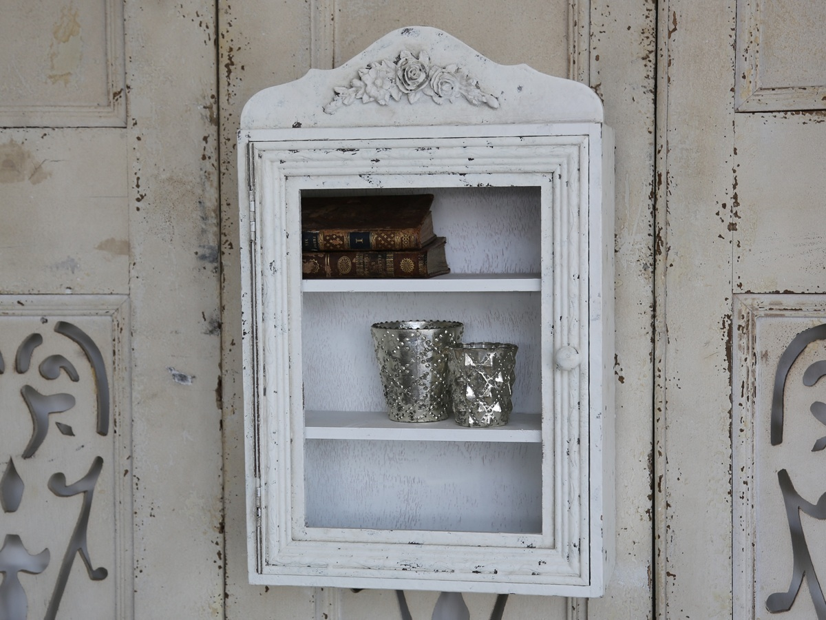kleiner wandschrank mit t r von chic antique shabby chic antik wei 46x30 cm ebay. Black Bedroom Furniture Sets. Home Design Ideas