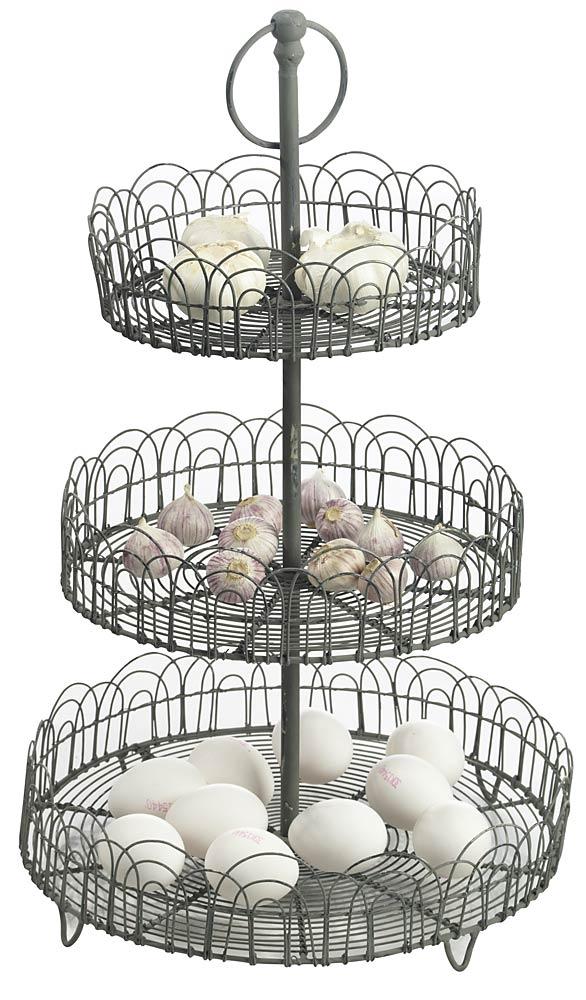 etagere aus metall von madam stoltz mit 3 k rben h he 50 cm vintage look ebay. Black Bedroom Furniture Sets. Home Design Ideas
