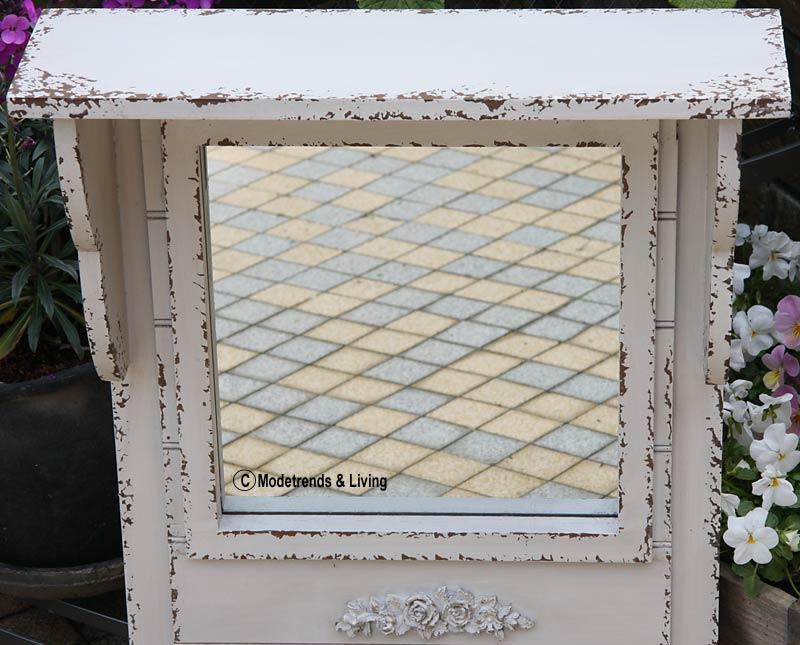 chic antique spiegel mit ablage haken antik shabby look 56x36x13 cm neu ebay. Black Bedroom Furniture Sets. Home Design Ideas