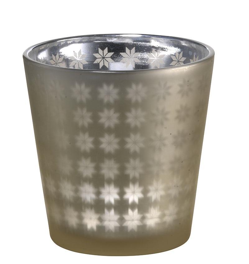 teelichthalter von madam stoltz aus glas gold silber mit sternen 7 5 x 7 5 cm ebay. Black Bedroom Furniture Sets. Home Design Ideas